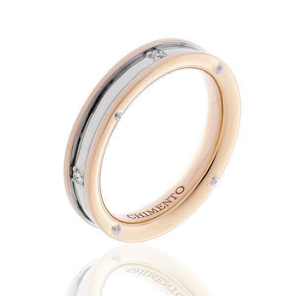 Prsten od roze belog zlata sa dijamantima