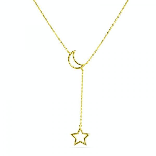 Srebrna ogrlica sa žutom pozlatom