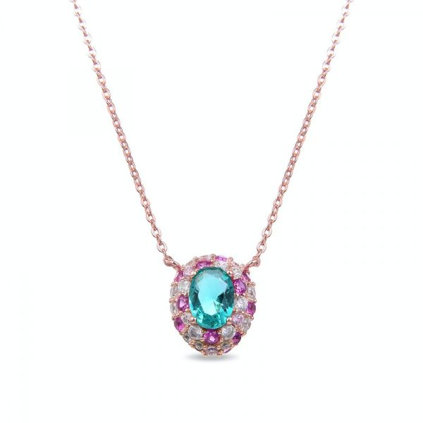 srebrna ogrlica sa roze pozlatom