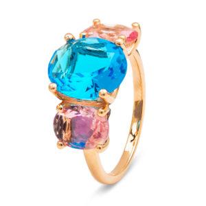 srebrni prsten sa roze pozlatom