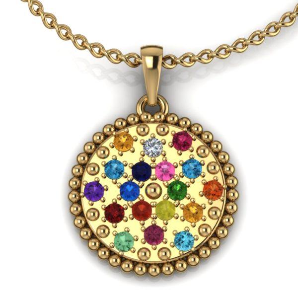 Privezak krug sa dragim kamenjem od žutog zlata