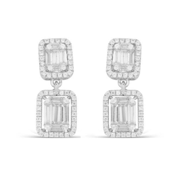 Viseće srebrne minđuše sa kristalima
