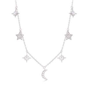 srebrna ogrlica mesec i zvezde