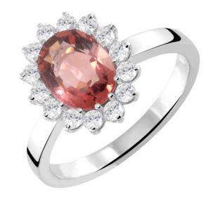 Karmaziran prsten sa topazom i brilijantima