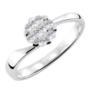 Asimetričan prsten sa brilijantima