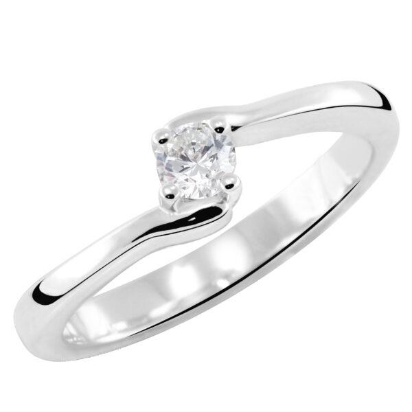 Stilizovan prsten sa brilijantom