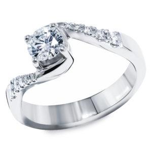 Stilizovan prsten sa brilijantima