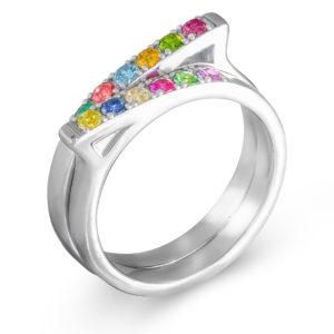 Neobičan prsten sa kamenjem u boji