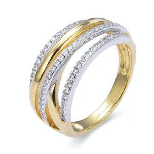 Prsten sa žutom pozlatom i kristalima