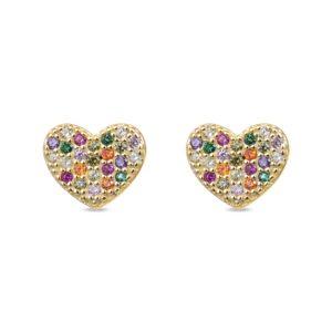 Minđuše srca sa raznobojnim kamenčićima