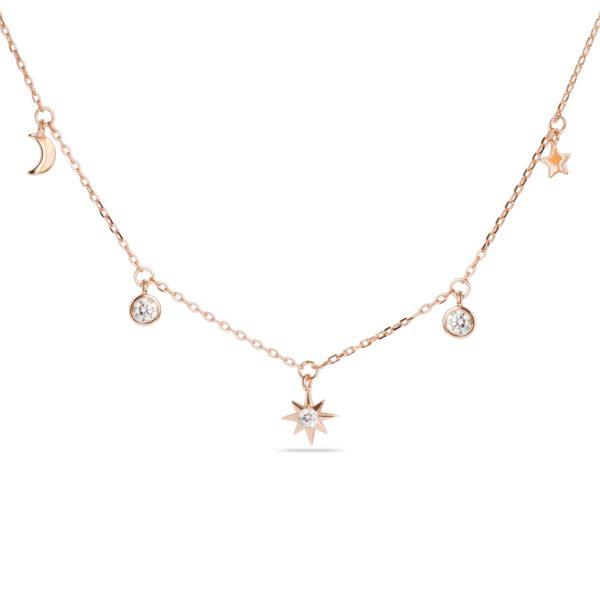 Ogrlica od srebra sa roze pozlatom