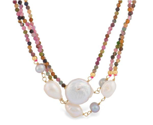 Ogrlica sa biserima i perlicama